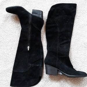 Black genuine suede knee-high boots